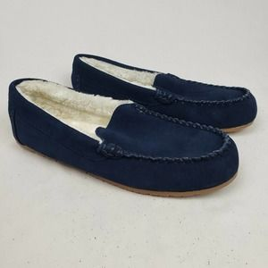 Lands' End Suede Leather Moccasin Slippers NWOT